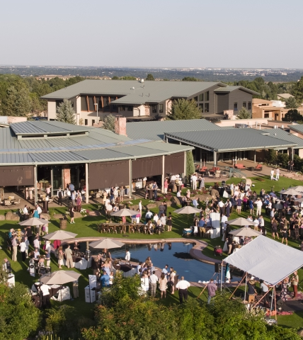 Aerial view of an event being hosted at Garden of the Gods Resort & Club