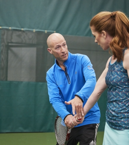 Instructor and tennis player