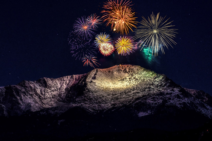 fireworks over mountain