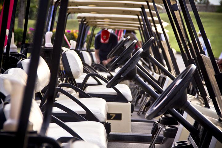 golf karts lined up