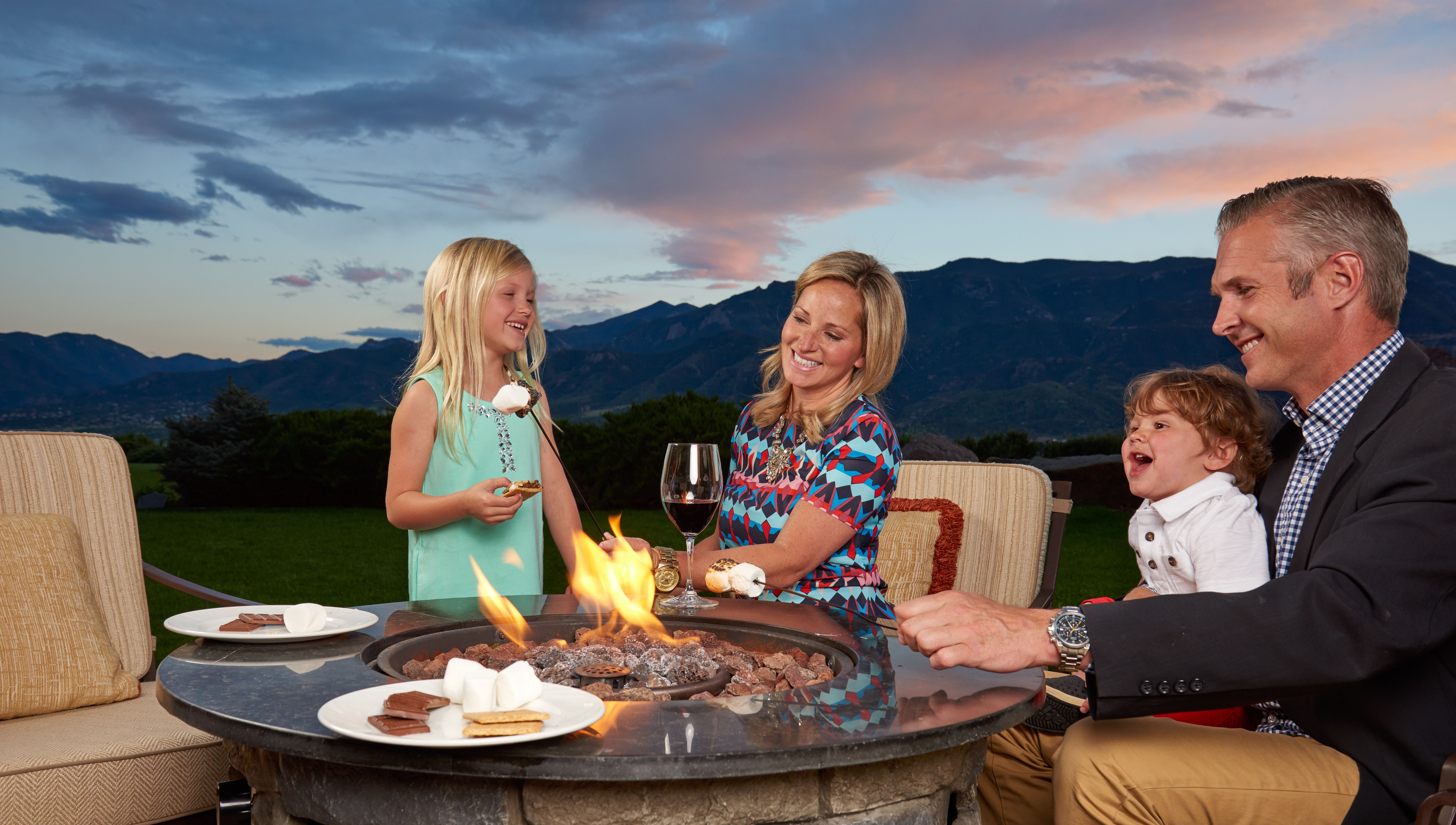 family making s'mores