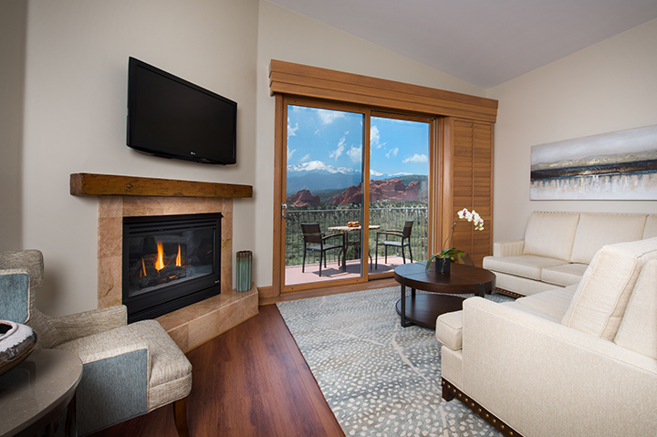 suite with patio views