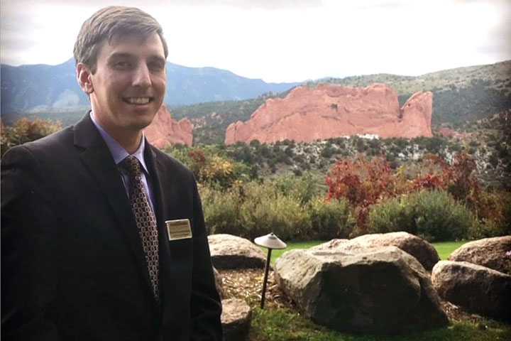 portrait of man in front of garden of the gods mountains