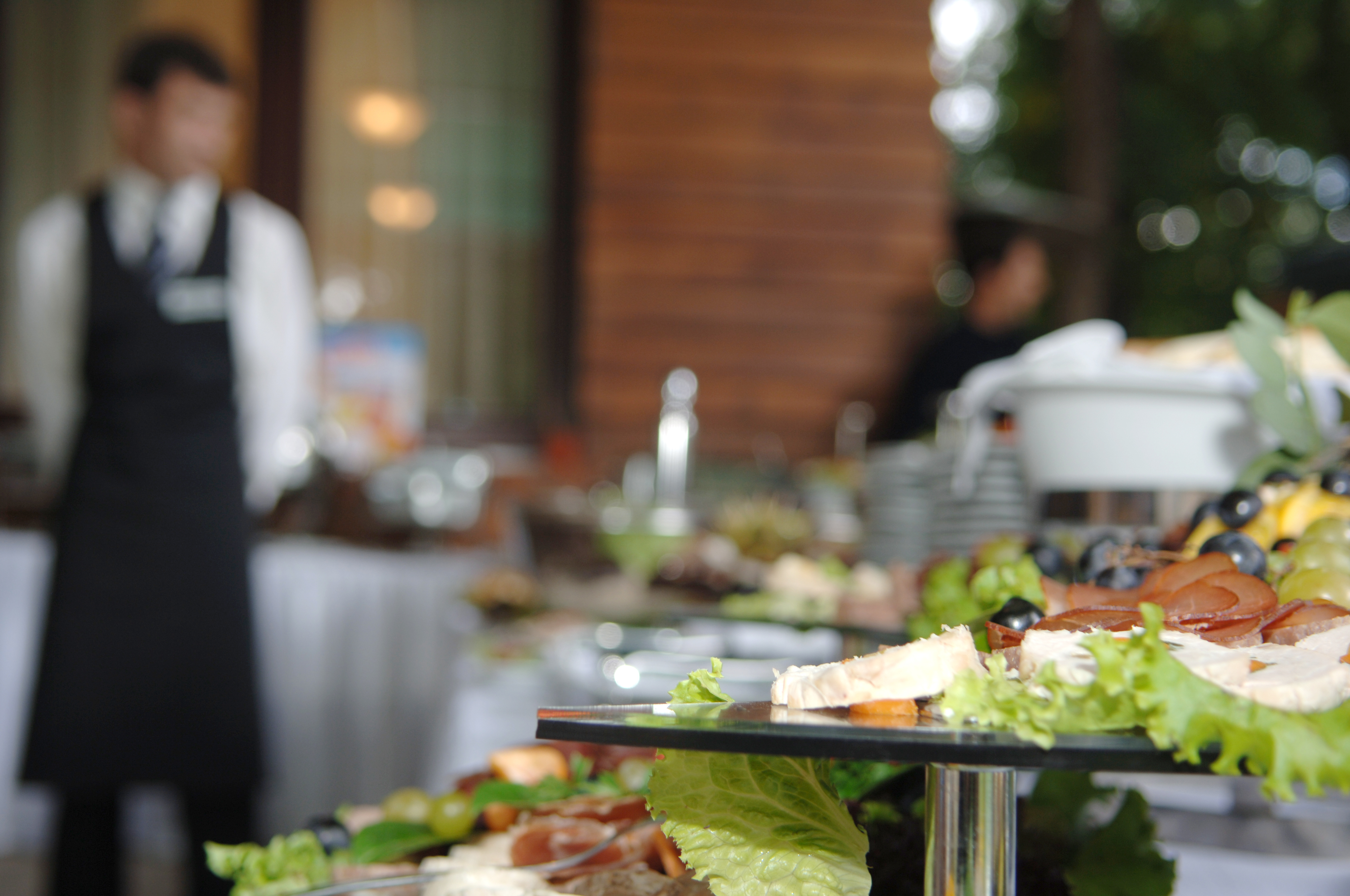 wedding catering setup with fruits and meats